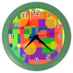 Colorful geometrical design Color Wall Clocks