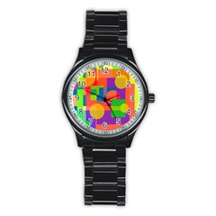 Colorful geometrical design Stainless Steel Round Watch