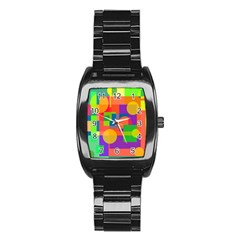 Colorful geometrical design Stainless Steel Barrel Watch