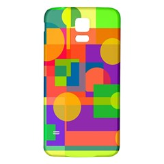 Colorful geometrical design Samsung Galaxy S5 Back Case (White)