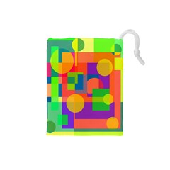 Colorful geometrical design Drawstring Pouches (Small)