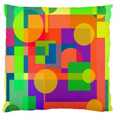 Colorful geometrical design Large Flano Cushion Case (Two Sides)