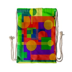 Colorful geometrical design Drawstring Bag (Small)