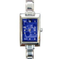 Deep blue abstract design Rectangle Italian Charm Watch