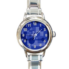 Deep blue abstract design Round Italian Charm Watch