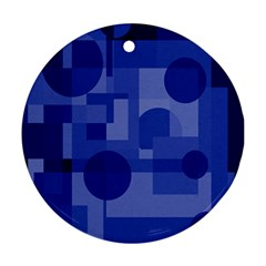 Deep blue abstract design Ornament (Round)