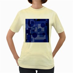 Deep blue abstract design Women s Yellow T-Shirt
