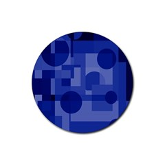 Deep blue abstract design Rubber Round Coaster (4 pack)