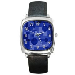 Deep blue abstract design Square Metal Watch