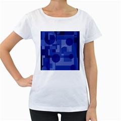 Deep blue abstract design Women s Loose-Fit T-Shirt (White)