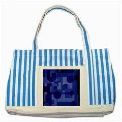 Deep blue abstract design Striped Blue Tote Bag