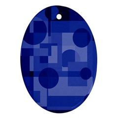 Deep blue abstract design Oval Ornament (Two Sides)