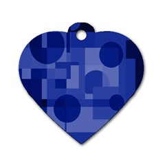 Deep blue abstract design Dog Tag Heart (Two Sides)