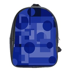 Deep blue abstract design School Bags(Large)