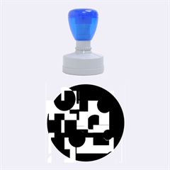 Deep blue abstract design Rubber Round Stamps (Medium)