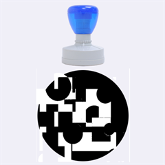 Deep blue abstract design Rubber Round Stamps (Large)