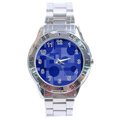 Deep blue abstract design Stainless Steel Analogue Watch