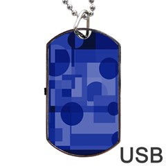 Deep blue abstract design Dog Tag USB Flash (Two Sides)