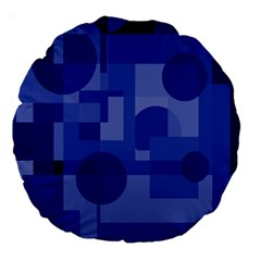 Deep blue abstract design Large 18  Premium Round Cushions