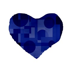 Deep blue abstract design Standard 16  Premium Heart Shape Cushions