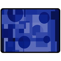 Deep blue abstract design Double Sided Fleece Blanket (Large)