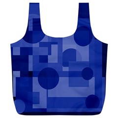 Deep blue abstract design Full Print Recycle Bags (L)