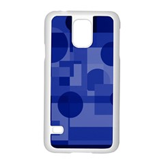 Deep blue abstract design Samsung Galaxy S5 Case (White)