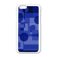Deep blue abstract design Apple iPhone 6/6S White Enamel Case