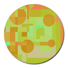 Green and orange decorative design Round Mousepads