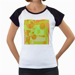 Green and orange decorative design Women s Cap Sleeve T