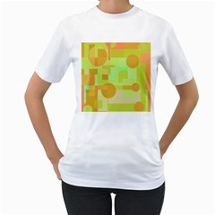Green and orange decorative design Women s T-Shirt (White) (Two Sided)