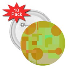 Green and orange decorative design 2.25  Buttons (10 pack)