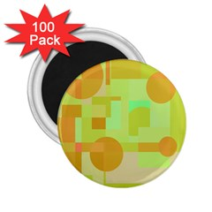 Green and orange decorative design 2.25  Magnets (100 pack)