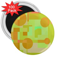 Green and orange decorative design 3  Magnets (100 pack)