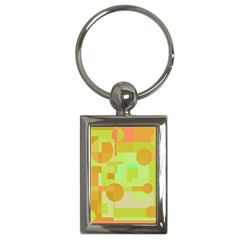 Green and orange decorative design Key Chains (Rectangle)