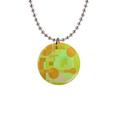 Green and orange decorative design Button Necklaces