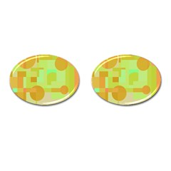 Green and orange decorative design Cufflinks (Oval)