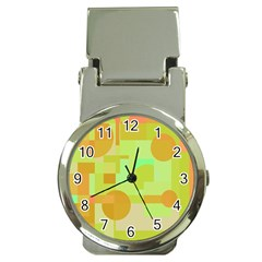 Green and orange decorative design Money Clip Watches