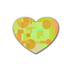 Green and orange decorative design Heart Coaster (4 pack)
