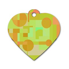 Green and orange decorative design Dog Tag Heart (Two Sides)