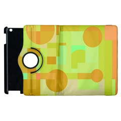 Green and orange decorative design Apple iPad 3/4 Flip 360 Case