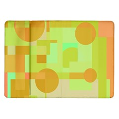 Green And Orange Decorative Design Samsung Galaxy Tab 10 1  P7500 Flip Case
