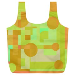 Green and orange decorative design Full Print Recycle Bags (L)