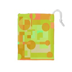 Green and orange decorative design Drawstring Pouches (Medium)