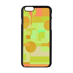 Green And Orange Decorative Design Apple Iphone 6/6s Black Enamel Case