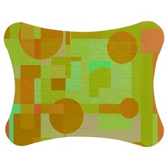 Green And Orange Decorative Design Jigsaw Puzzle Photo Stand (bow)