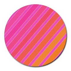 Pink elegant lines Round Mousepads