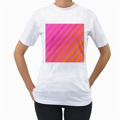 Pink elegant lines Women s T-Shirt (White) (Two Sided)