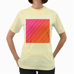 Pink elegant lines Women s Yellow T-Shirt