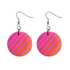 Pink elegant lines Mini Button Earrings